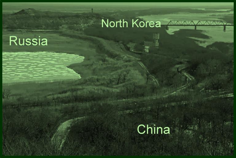 Borders of China  Russia and North Korea