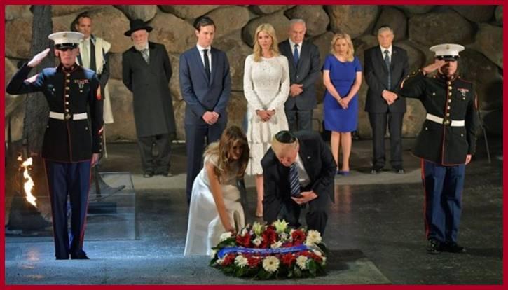 Trump family laying wreath at Vashem Holocaust Memorial Museum