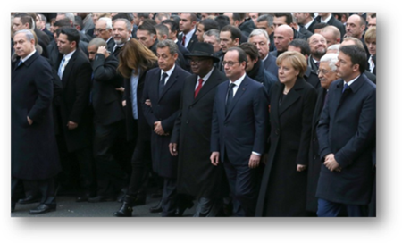 "Paris ""Unity March"" with Hollande, Netanyahu, Merkel, and Abbas"