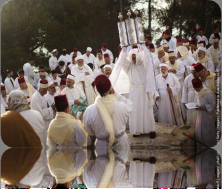 Modern Samaritans celebrating Shavuot (Pentecos