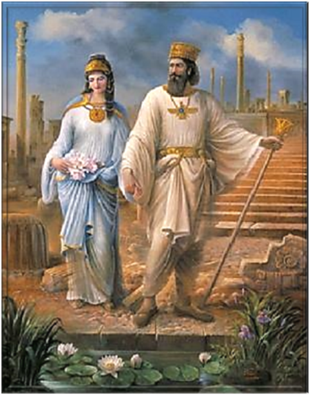 Israelite Cyrus the Great and his Jewess wife, Queen Esther