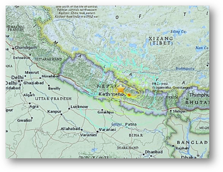 Kathmandu Nepal on Red Earthquake Line of the India and Eurasian Plates