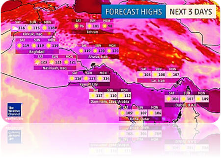 Scorching heat at 163 degrees in Iran
