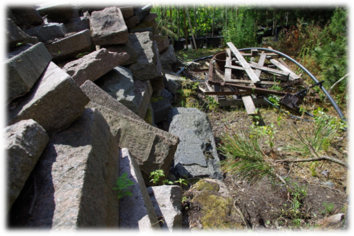 Jewish Tombstones piled in Rubble during Soviet Era