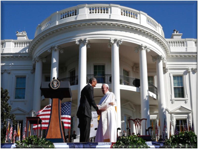 President Barak Hussein Obama and Pope Francis on the Portico of the White House