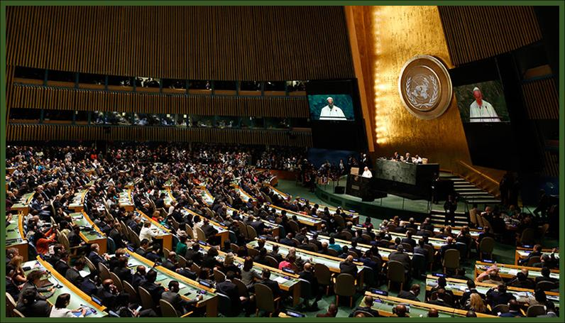 Pope Francis I addressing the General Assembly of the United Nations