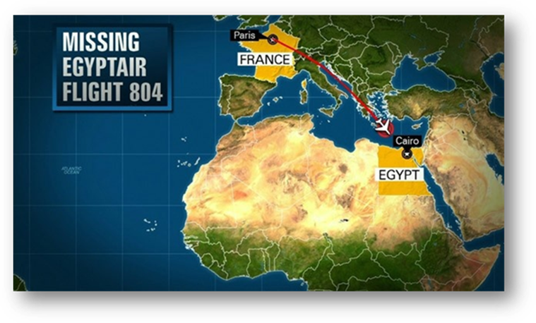 Route of EgyptAir Flight 804