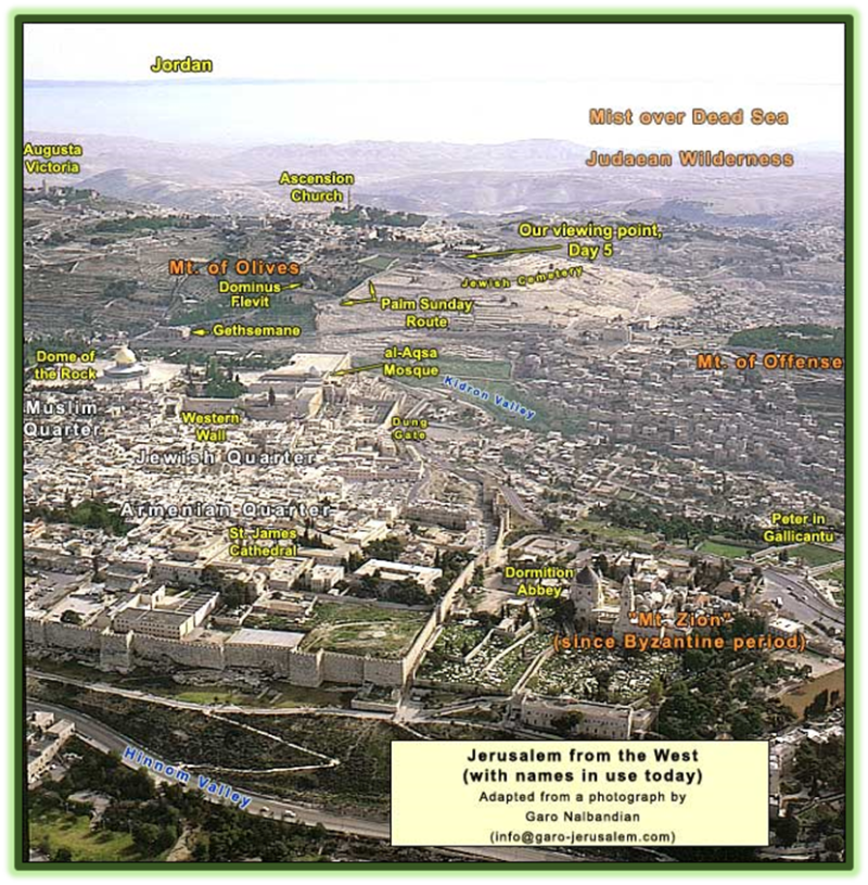Arial view of Jerusalm's Old City with Mount Zion